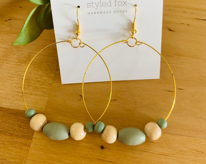 Green and Cream Hoop Earrings