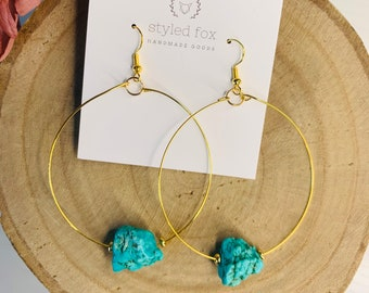 Turquoise Rock Earrings