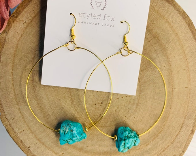 Turquoise Rock Earrings