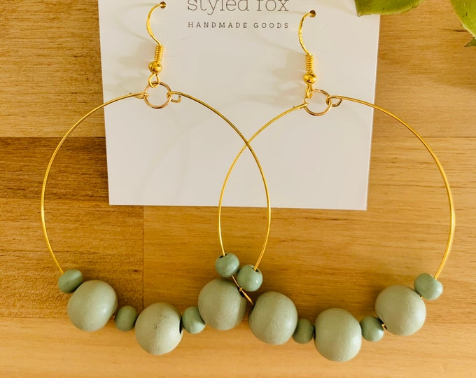 Light Green Beaded Earrings