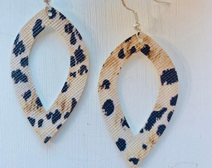 Small Leopard Print Faux Leather Earrings