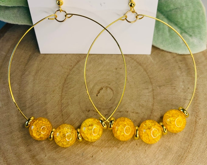 Yellow and Gold Beaded Hoop Earrings