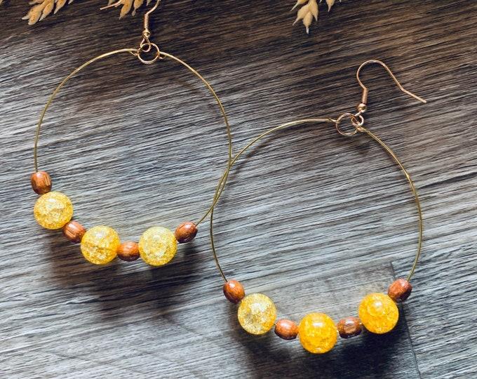 Yellow and Wood Beaded Hoop Earrings