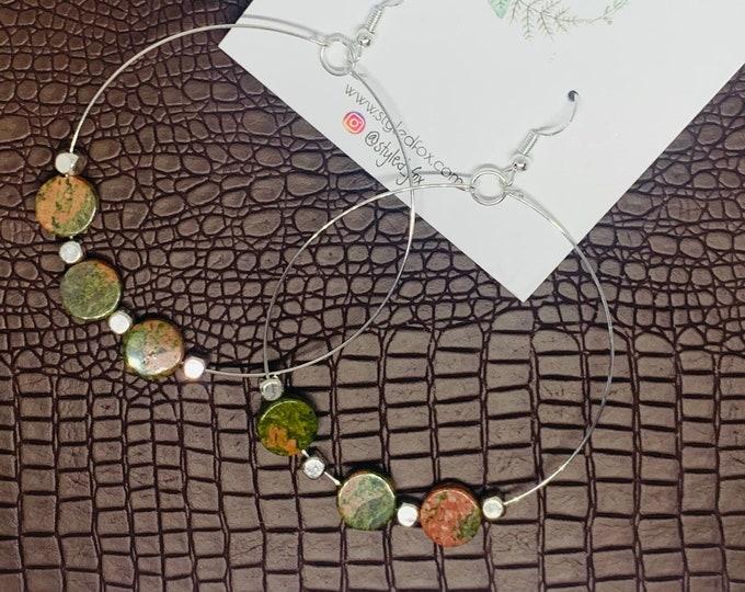 Rusty Green Beaded Earrings