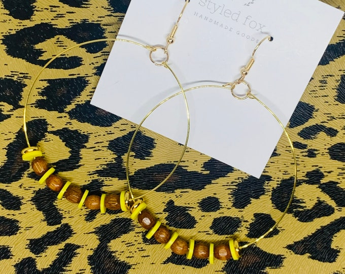 Handmade Wood and Yellow Beaded Hoop Earrings