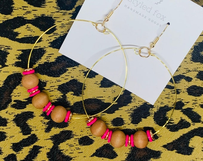 Handmade Wood and Pink Beaded Hoop Earrings