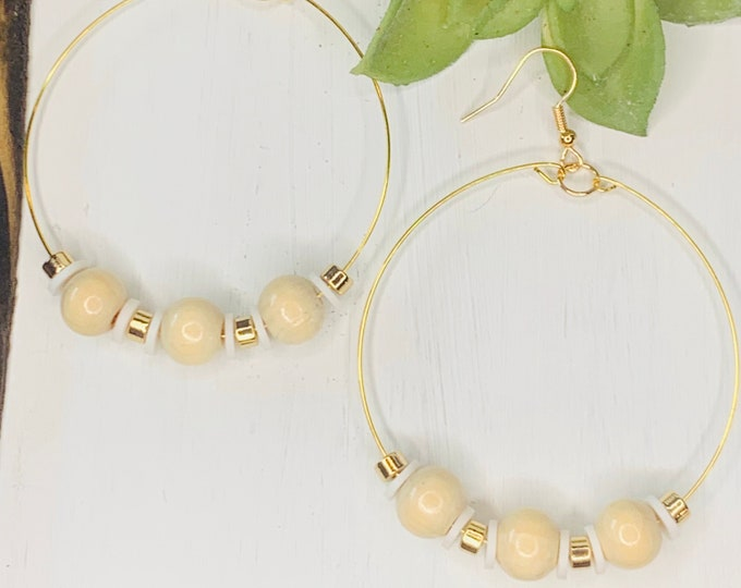 Handmade Wood and White Beaded Hoop Earrings