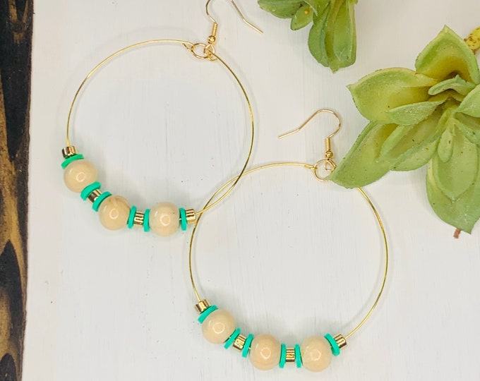 Handmade Wood and Green Beaded Hoop Earrings