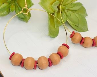 Handmade Wood and Red Beaded Hoop Earrings
