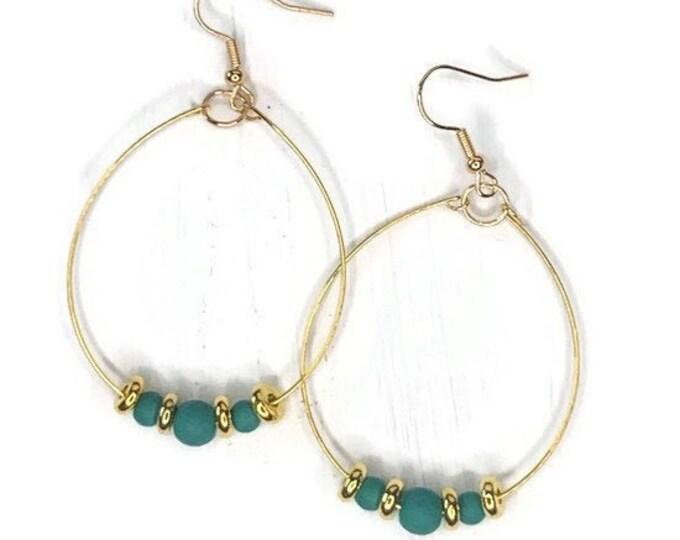 Handmade Gold/Teal Beaded Hoop Earrings