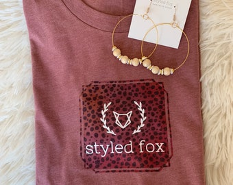 Mauve and Pink Leopard Styled Fox T-Shirt