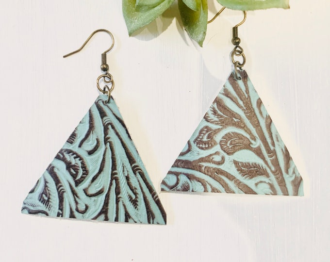 Genuine Triangle Teal and Brown Leather Earrings