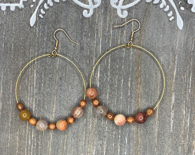 Handmade Petrified Wood and Jasper Beaded Hoop Earrings