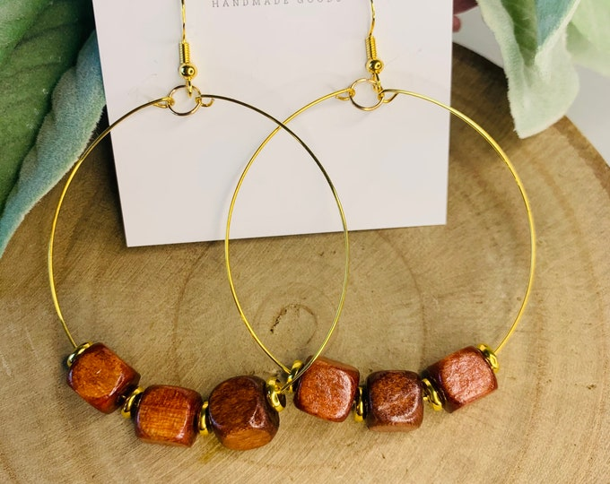 Square Wood Beaded Hoop Earrings