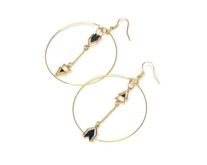 Handmade Gold/Arrow Hoop Earrings