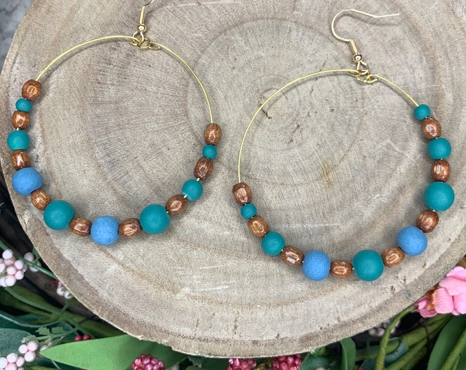 Handmade Wood, Teal, Blue Beaded Hoop Earrings