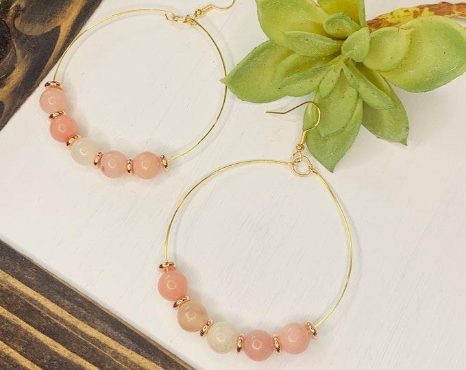 Handmade Pink Beaded Hoop Earrings