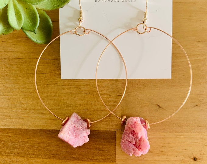 Pink Stone Hoop Earrings