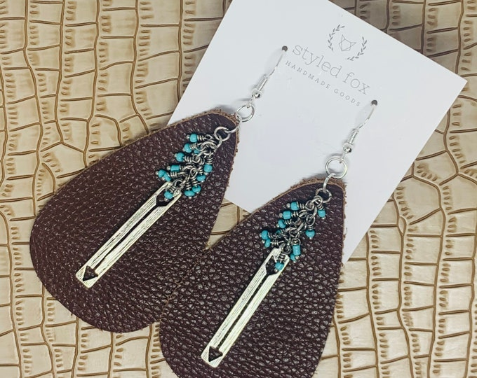 Brown Leather with Turquoise and Silver Accents