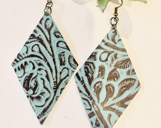 Genuine Teal and Brown Leather Earrings