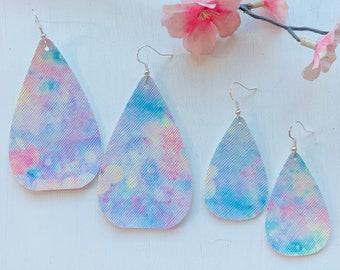 Watercolor Faux Leather Earrings