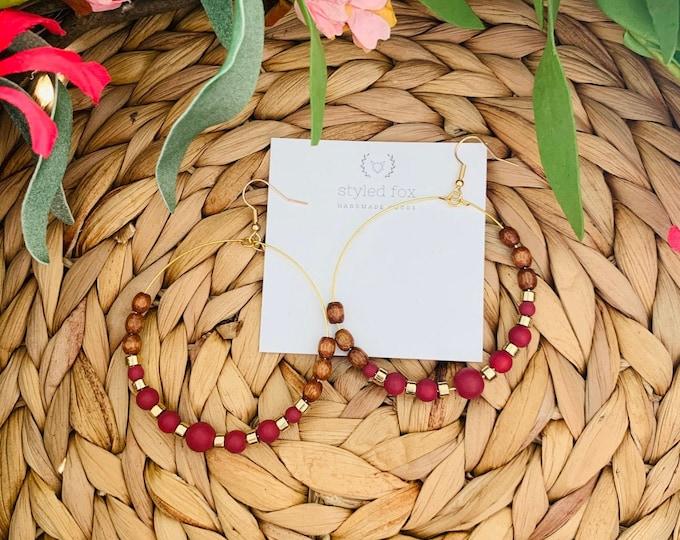 Handmade Rose, Gold and Wood Beaded Hoop Earrings