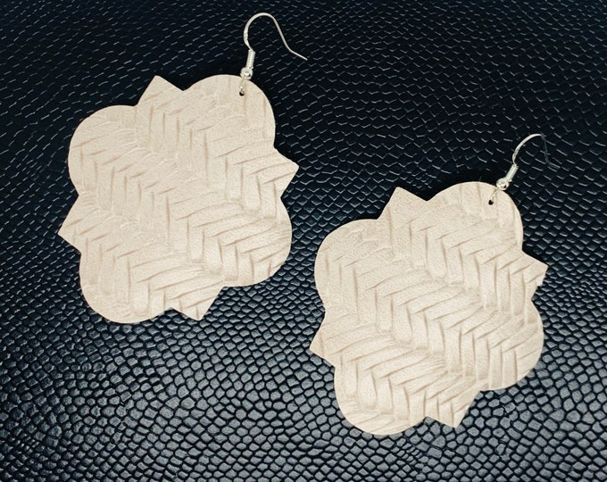 Braided Bone Faux Leather Earrings