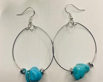 Small Turquoise Rock Earrings