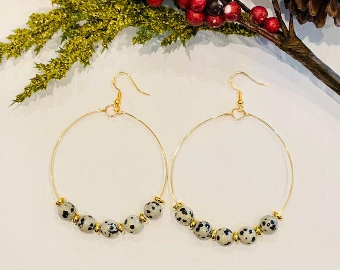 Featured listing image: Dalmatian Beaded Hoop Earrings