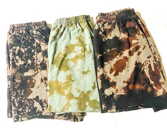 Women\u2019s Bleach Tie Dye Black and Beige Biker Shorts