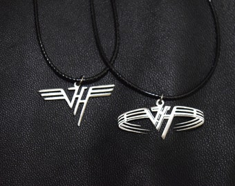 Bead Rock Star Necklace Eddie Van Halen RIP Necklace Rhinestone Electric Guitar EVH Tribute Necklace Music Lover Gift Musician Jewelry