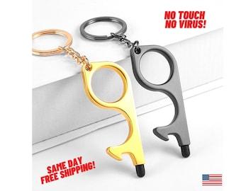 Golden Yeaht 2-Pack Handheld Non-Contact Door Opener /& Stylus Keychain Door Handle Aids Tool