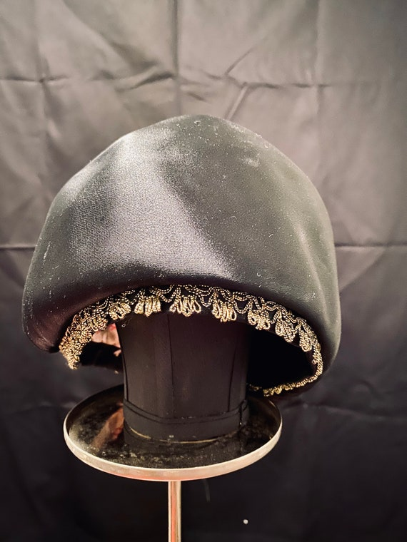 Vintage Black Dachette Designer HAT by Lilly Dache