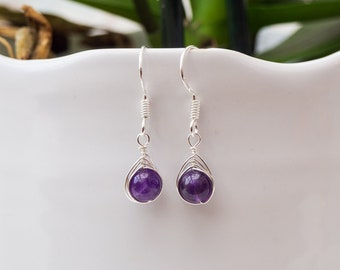 stamped large teardrops A-1 condition Handmade AMETHYST and sterling pierced earrings FREE shipping to US and Canada