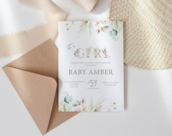 Baby Shower Rainbow Invite. Baby Girl Floral Invite for Baby Shower. Personalised Baby Shower Invite. Baby Shower Party Invitation.