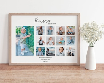 Baby's First Year Memory Print. Personalised Baby's First Year Print with baby details.First Year Baby Photo Album.Personalised Baby Photos.