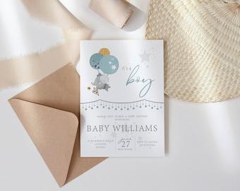Baby Shower Rainbow Invite. Baby Boy Invite for Baby Shower. Personalised Baby Shower Invite. Baby Shower Party Invitation.