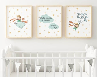Set of 3 Nursery Prints. Little Prince Nursery Decor. Nursery Personalised Wall Art. The essential is invisible to the eye quote.