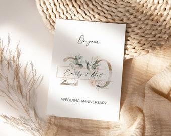 Wedding Anniversary Floral Card. Wedding Anniversary Gift. Wedding Anniversary Personalised Greeting Card.