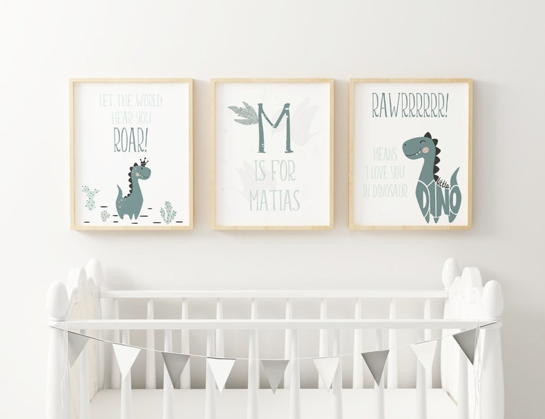 Set of 3 Nursery Prints. Personalised Dinosaur Nursery Print. image 0