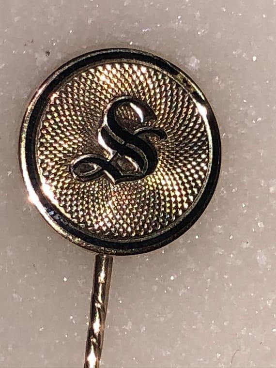 Antique Gold Monogram S Pin Enamel
