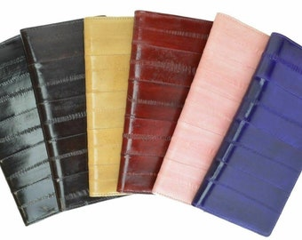 Genuine Eel Skin Leather Handcrafted Checkbook Cover Wallet Card Insert Unisex