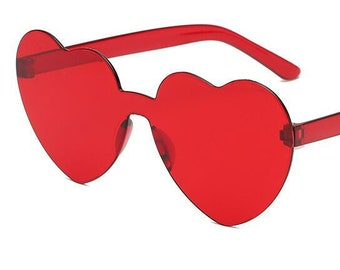 Red Heart Shaped Sunglasses | Harry Style sunglasses