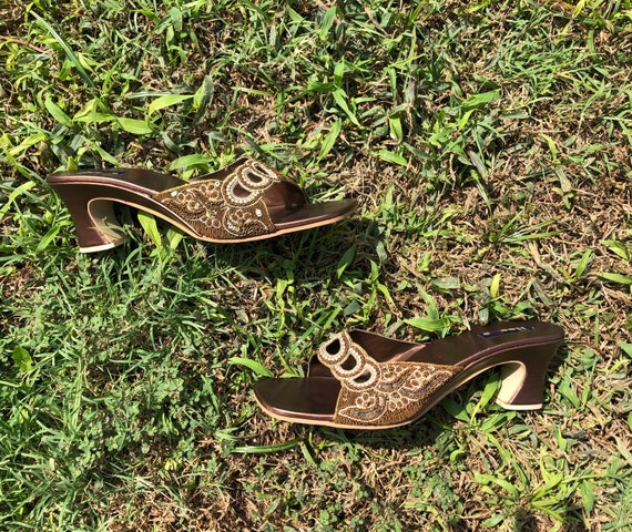 1990s The Heel brand mule square toe sequined sand