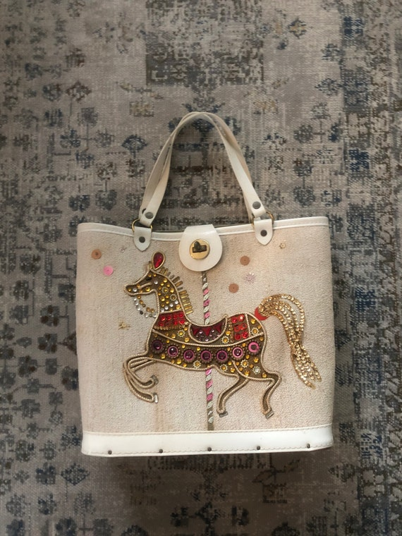 1960s Enid Collins stallion jeweled handbag