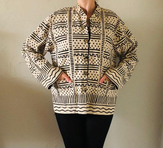 90s reversible nehru abstract jacket sz L