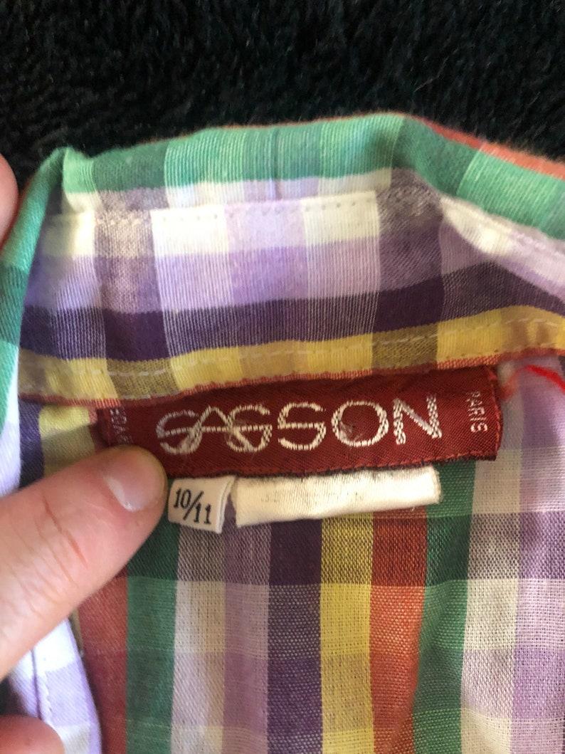70s Sasson rainbow checked pearl snap sz S