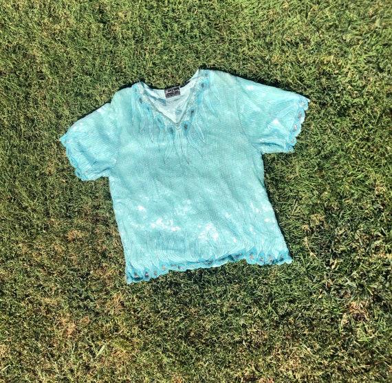 1980s aqua sequined Jewel Queen blouse size L