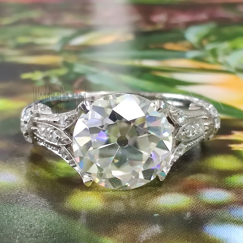Round Old Mine Moissanite Engagement Ring 8 MM Colorless Moissanite 1.75Ct Vintage Engagement Ring 925 Sterling Silver Art Deco Wedding Ring