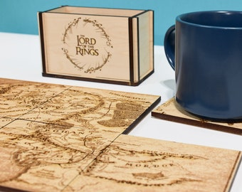 Lord of the Rings Coasters, LOTR Map Coasters, Lord of the Rings Gift Idea, Wood Map, LOTR Home Decor
